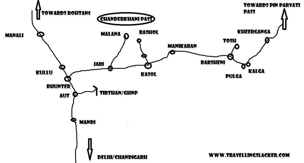 parvati valley trekking map