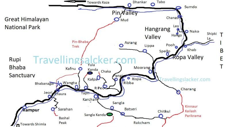 Kinnaur Tourist Map