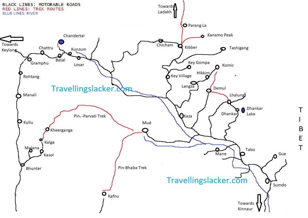 Spiti Valley Tourist Route Map