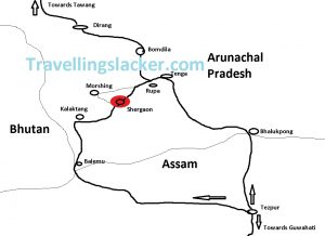 Shergaon Route Map
