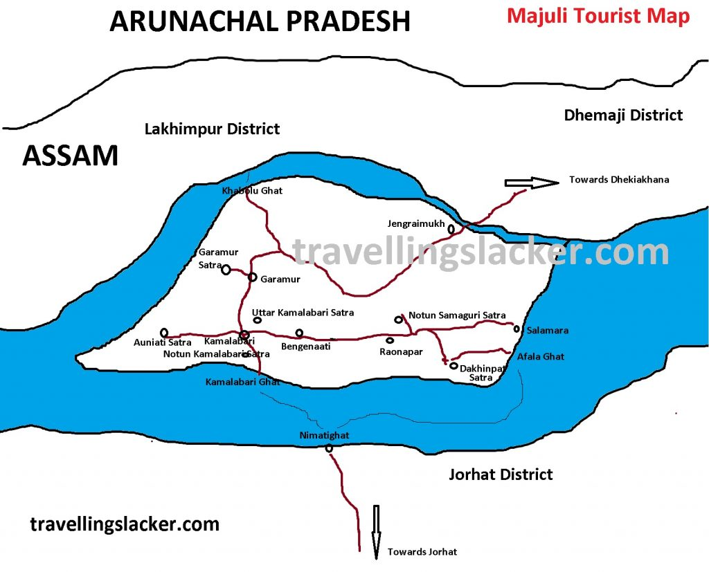 Rote Map for Tourists in Majuli